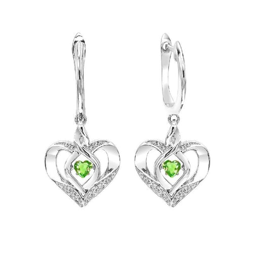 SS Diamond ROL-Birthst Heart Peridot Basics Earring, Danwerke Jewelers, ROL2165D