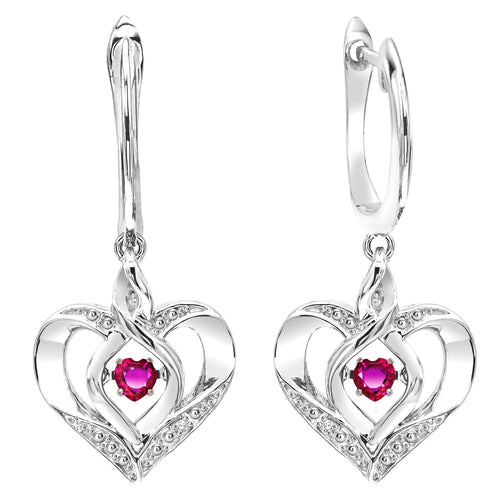SS Diamond ROL-Birthst Heart Garnet Basics Earring 1/15Ct, Danwerke Jewelers, ROL2165G