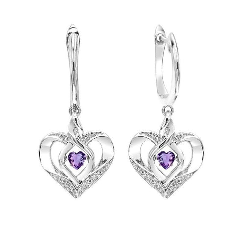 SS Diamond ROL-Birthst Heart Amethyst Basics Earring, Danwerke Jewelers, ROL2165M