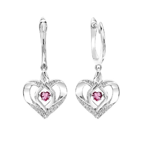 SS Diamond ROL-Birthst Heart Pink Tourmaline Basics Earring 1/165Ct, Danwerke Jewelers, ROL2165PT