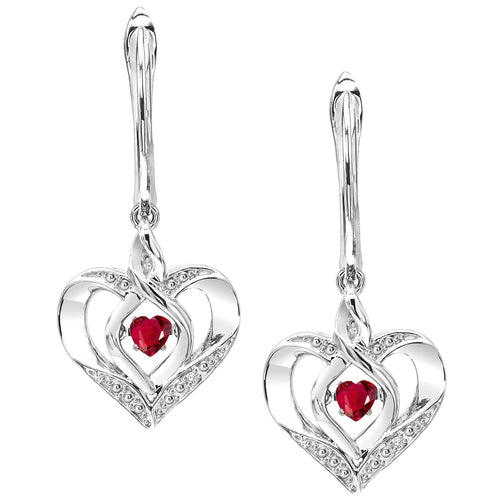 SS Diamond ROL-Birthst Heart Ruby Basics Earring 1/165Ct, Danwerke Jewelers, ROL2165R