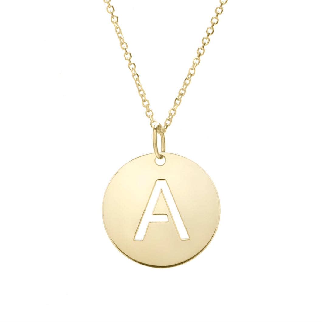 Polished Initial-A Pendant on 14kt Yellow Gold  Extendable Classic Cable Chain with Lobster Clasp