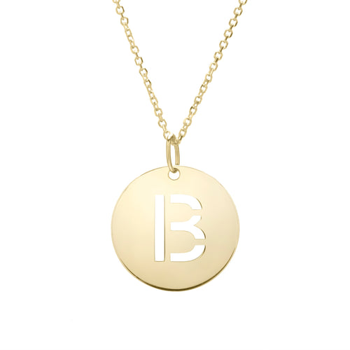 Polished Initial-B Pendant on 14kt Yellow Gold  Extendable Classic Cable Chain with Lobster Clasp
