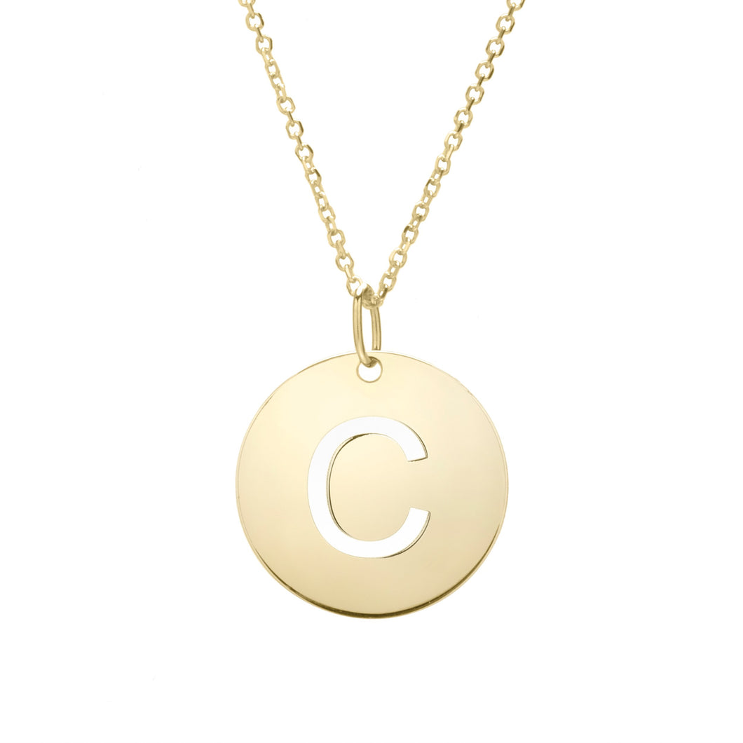 Polished Initial-C Pendant on 14kt Yellow Gold  Extendable Classic Cable Chain with Lobster Clasp