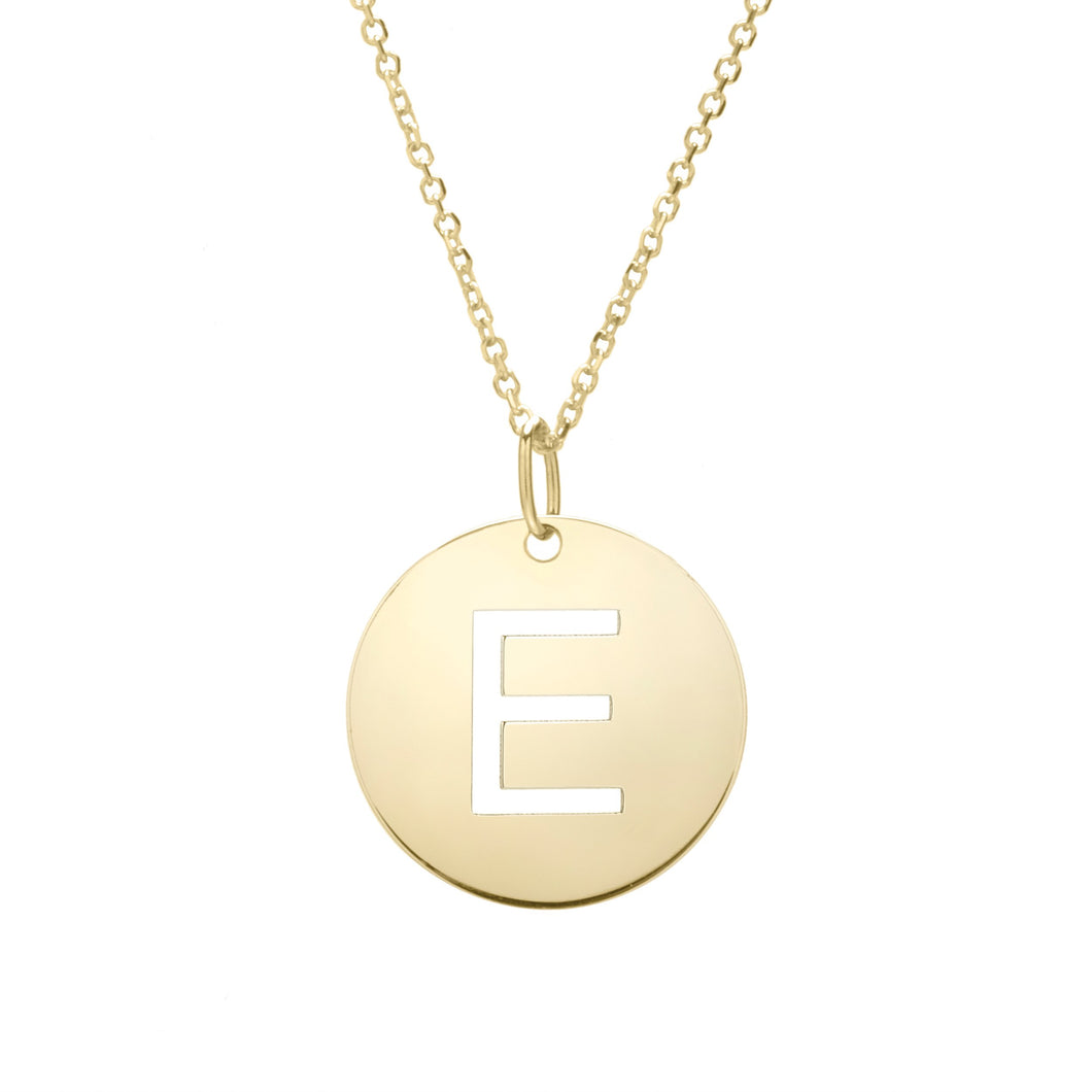 Polished Initial-E Pendant on 14kt Yellow Gold  Extendable Classic Cable Chain with Lobster Clasp