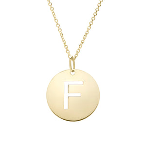 Polished Initial-F Pendant on 14kt Yellow Gold  Extendable Classic Cable Chain with Lobster Clasp