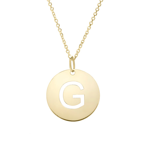 Polished Initial-G Pendant on 14kt Yellow Gold  Extendable Classic Cable Chain with Lobster Clasp