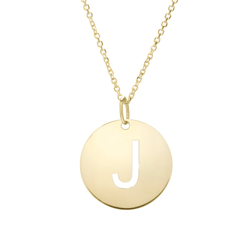 Polished Initial-J Pendant on 14kt Yellow Gold  Extendable Classic Cable Chain with Lobster Clasp