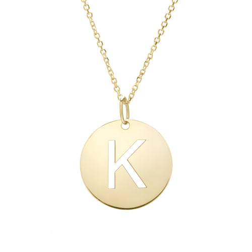 Polished Initial-K Pendant on 14kt Yellow Gold  Extendable Classic Cable Chain with Lobster Clasp