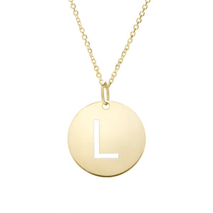 Polished Initial-L Pendant on 14kt Yellow Gold  Extendable Classic Cable Chain with Lobster Clasp