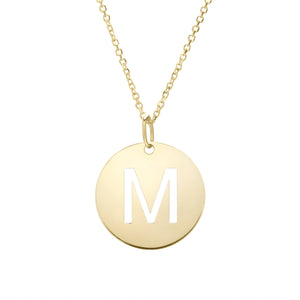 Polished Initial-M Pendant on 14kt Yellow Gold  Extendable Classic Cable Chain with Lobster Clasp