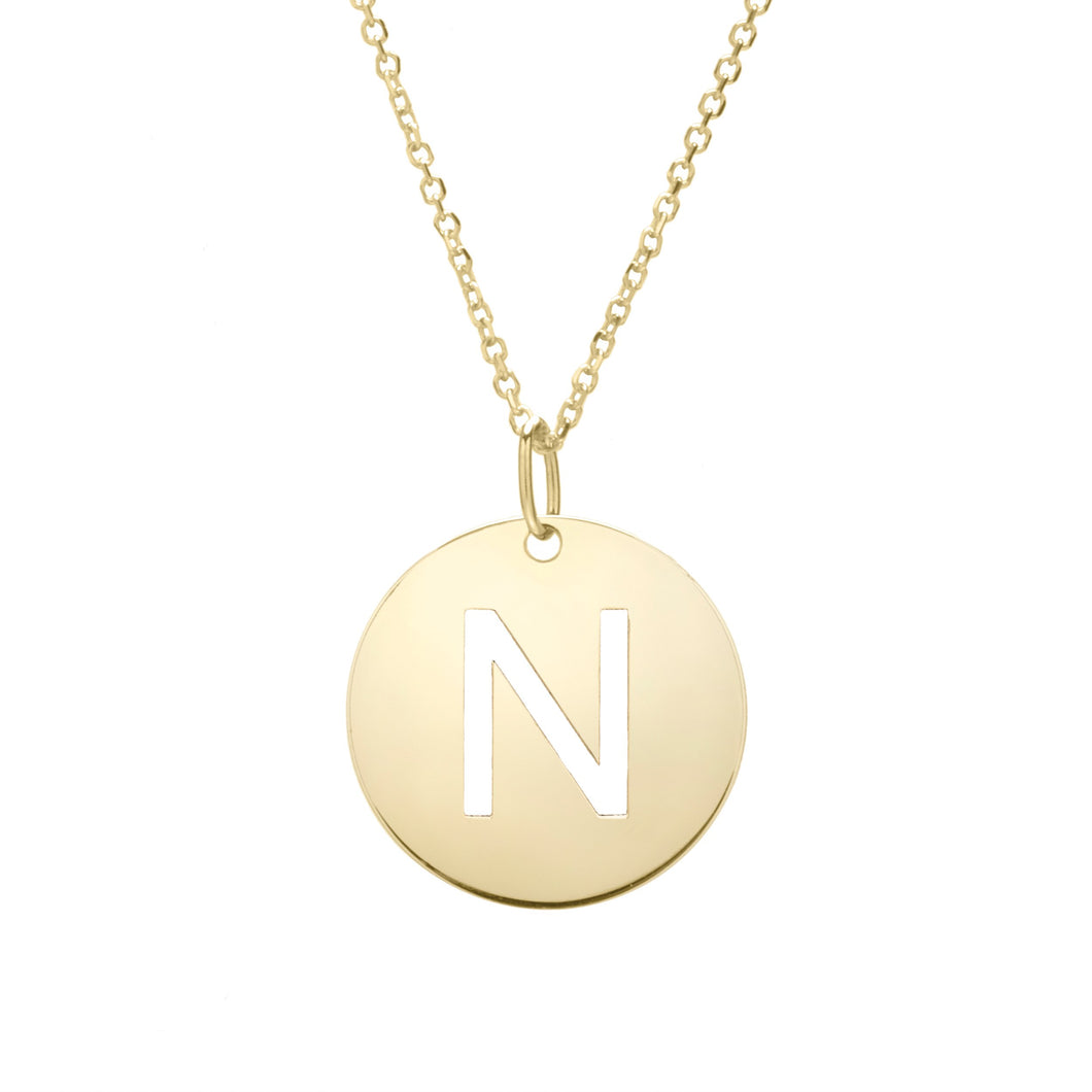 Polished Initial-N Pendant on 14kt Yellow Gold  Extendable Classic Cable Chain with Lobster Clasp