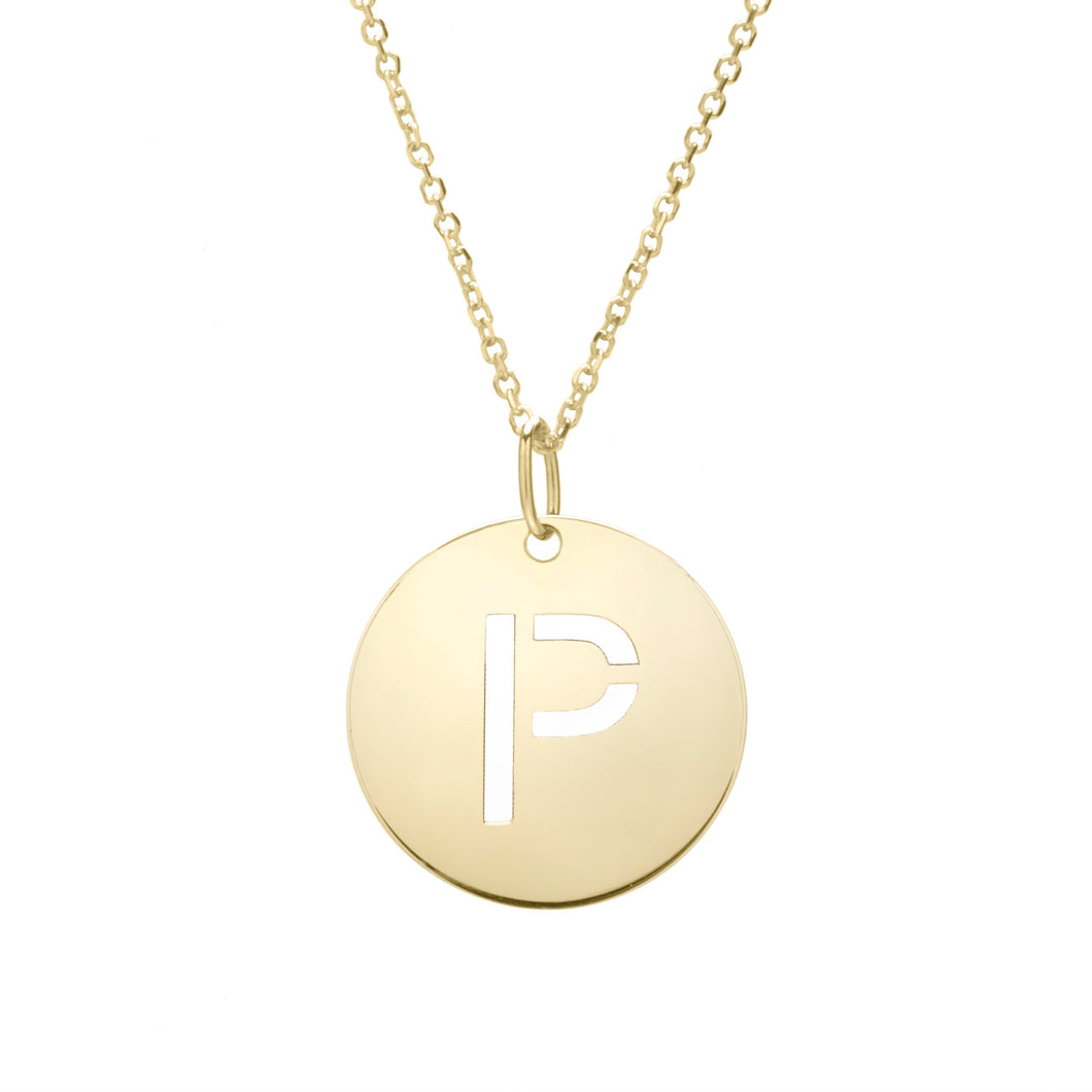 Polished Initial-P Pendant on 14kt Yellow Gold  Extendable Classic Cable Chain with Lobster Clasp
