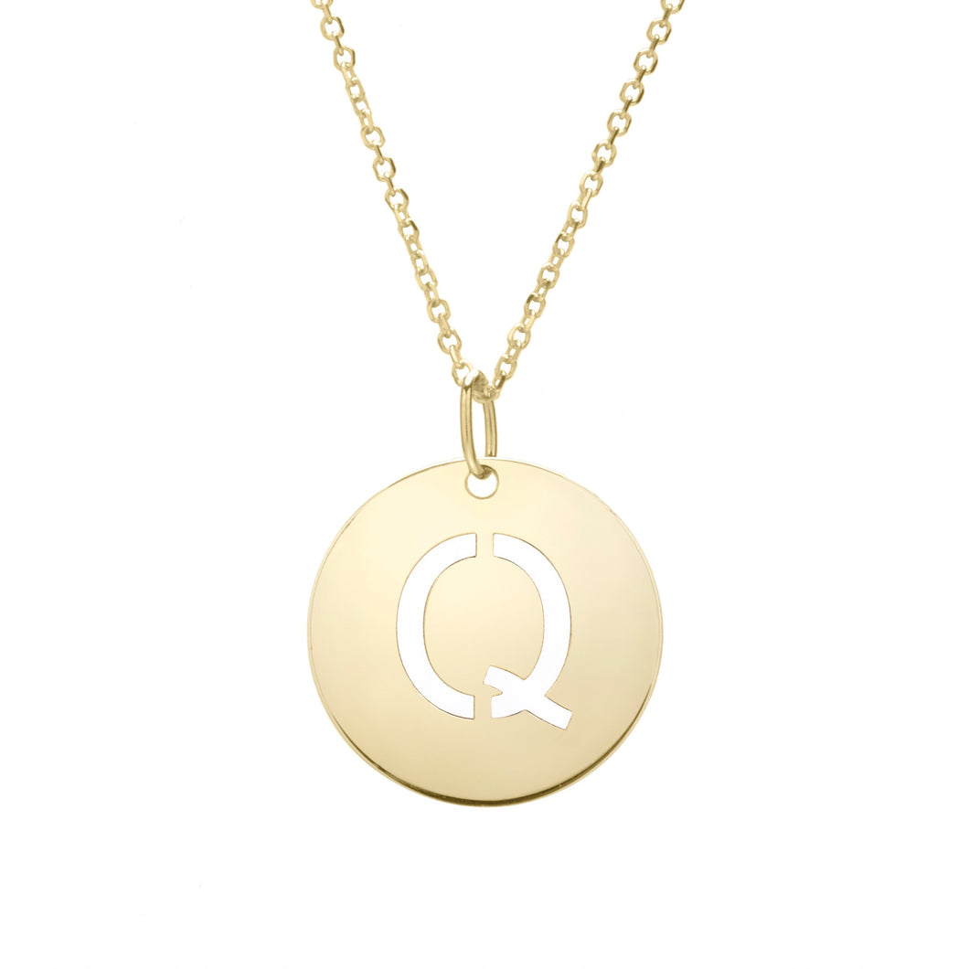 Polished Initial-Q Pendant on 14kt Yellow Gold  Extendable Classic Cable Chain with Lobster Clasp