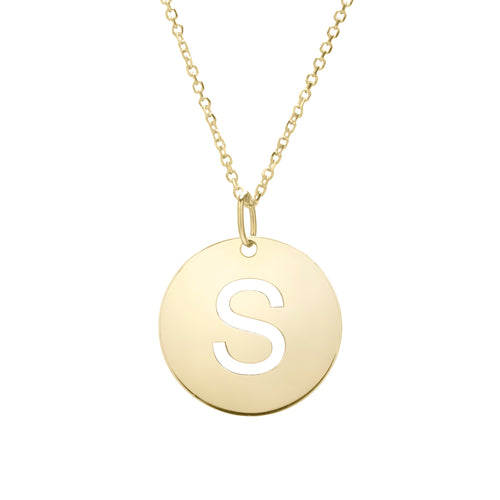 Polished Initial-S Pendant on 14kt Yellow Gold  Extendable Classic Cable Chain with Lobster Clasp