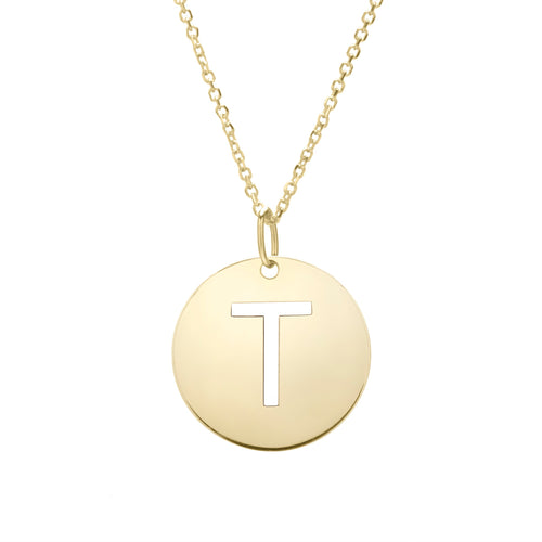 Polished Initial-T Pendant on 14kt Yellow Gold  Extendable Classic Cable Chain with Lobster Clasp