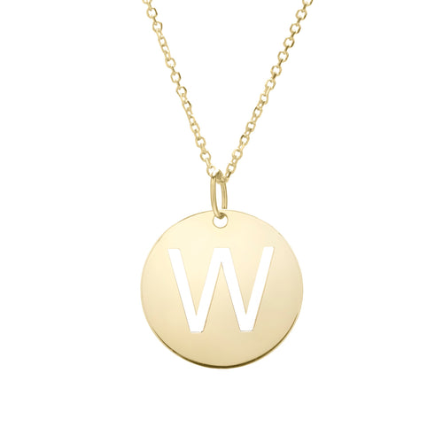 Polished Initial-W Pendant on 14kt Yellow Gold  Extendable Classic Cable Chain with Lobster Clasp