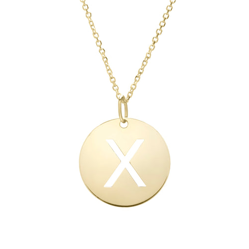 Polished Initial-X Pendant on 14kt Yellow Gold  Extendable Classic Cable Chain with Lobster Clasp