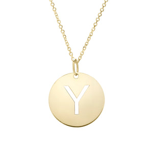Polished Initial-Y Pendant on 14kt Yellow Gold  Extendable Classic Cable Chain with Lobster Clasp