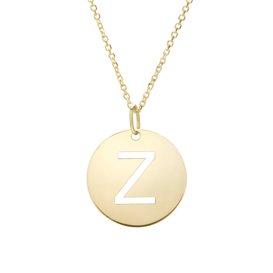 Polished Initial-Z Pendant on 14kt Yellow Gold  Extendable Classic Cable Chain with Lobster Clasp