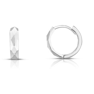 Diamond Cut Polished Circle Huggie Earring with Snap Clasp