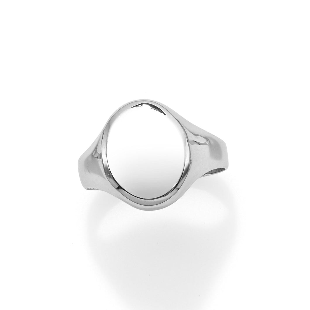 14kt White Gold Polished Oval Signet Ring - size 7