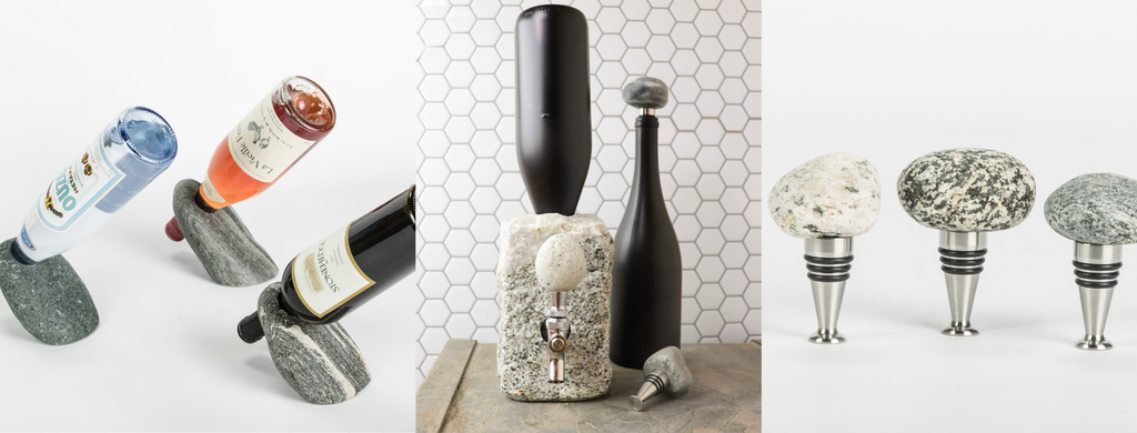 Left to right: three stone bottle balancers with bottles, the middle image features a gray dispenser with a black bottle inside of it, and the third image shows three stone topped bottle stoppers.