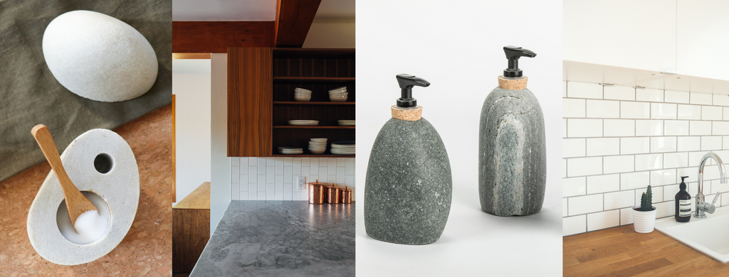 Four Images (left to right): a gray stone salt cellar with white salt and a bamboo spoon over a green cloth and cork background, a kitchen interior with warm wooden cabinets and gray stone countertops, two sone soap dispensers, and a white tiled kitchen backsplash with wooden countertop.