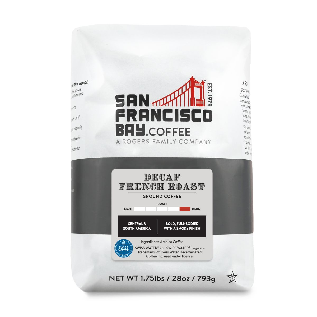 Decaf French Roast, Ground, 28 oz Bag