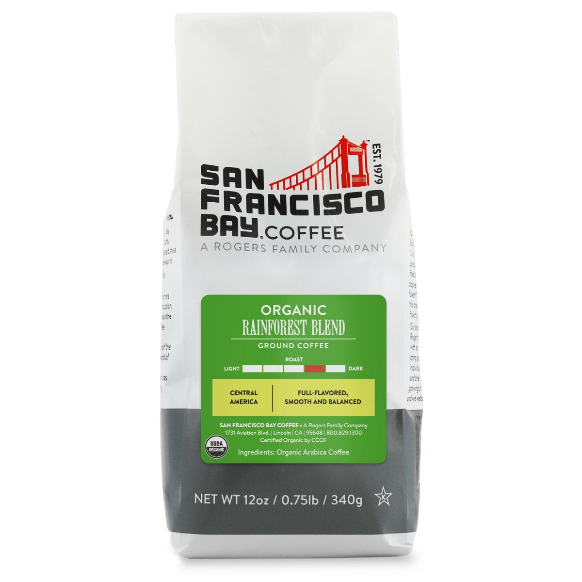 Organic Rainforest Blend, Ground, 12 oz Bag
