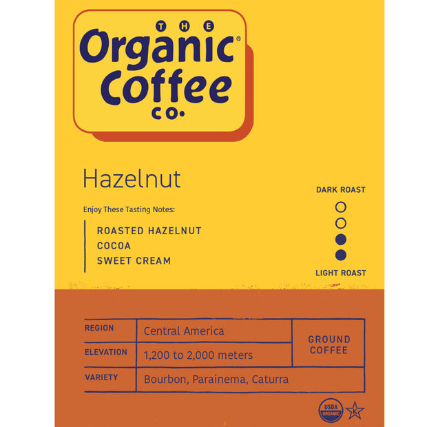 Organic Coffee Co. Hazelnut, 12 oz Bag (GROUND)