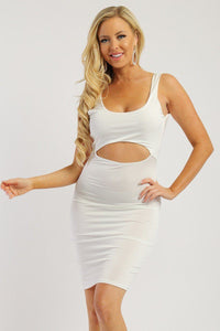 Solid Sleeveless Dress With Scoop Neck, Low Back And Front Cutout - Diamond Loves Express Shop