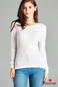 Long Sleeve Crew Neck Thermal Top - Diamond Loves Express Shop
