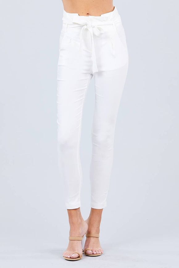 High Waisted Belted Pegged Stretch Pant - Diamond Loves Express Shop