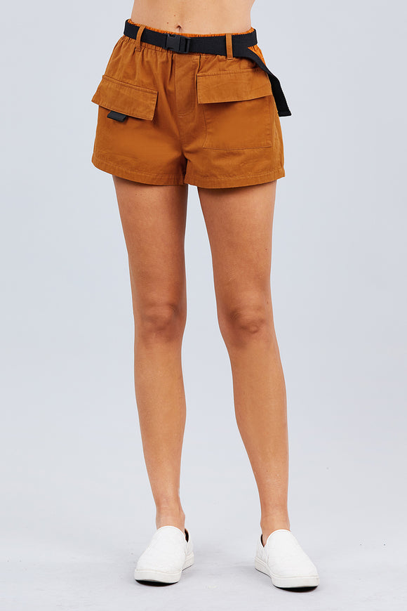 Twill Belted Side Pocket Cargo Cotton Short Pants - Diamond Loves Express Shop