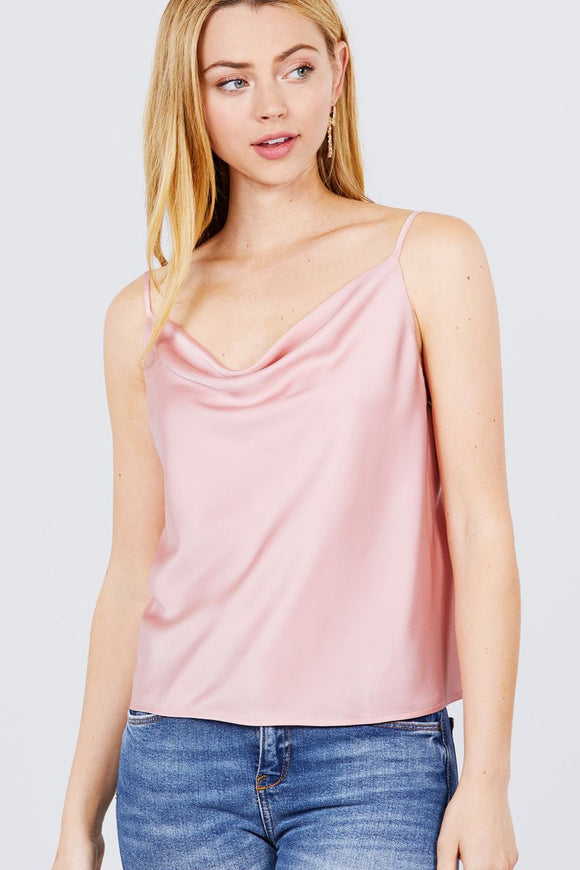 Cowl Neck W/back Open Tie Detail Cami Satin Woven Top - Diamond Loves Express Shop