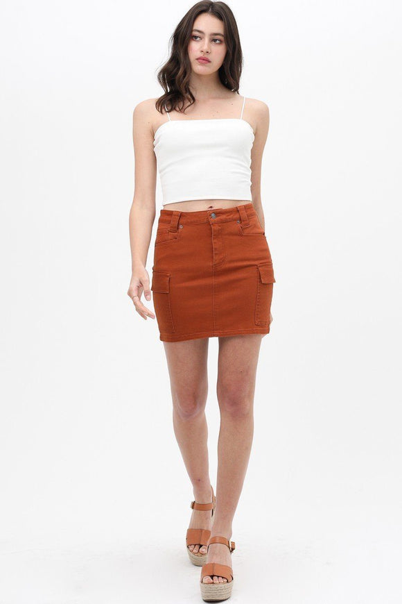 Cargo Cotton Span Mini Skirt - Diamond Loves Express Shop