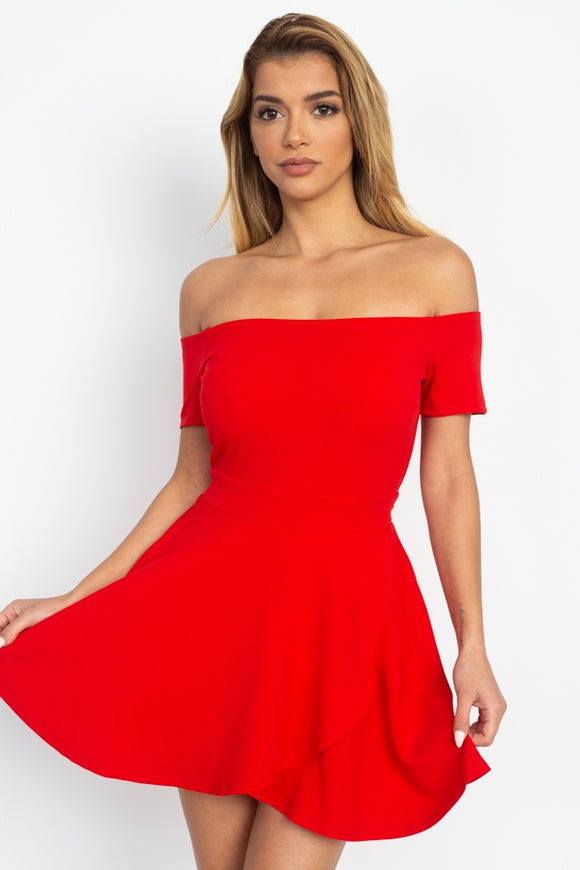 Fit & Flare Off Shoulder Romper - Diamond Loves Express Shop