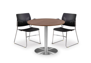 "Carmel 29"" High Gathering Table with Brushed Metal base Private Spaces 30"" Modern Walnut"
