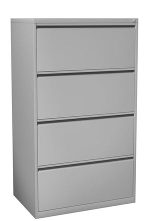 Fargo Four Drawer Lateral File with Lock Private Spaces Silver