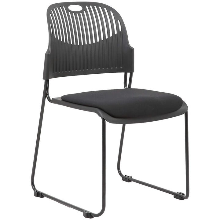 Fargo Stacking Chair Fabric Cushion Seat with Plastic Back / 6 Pack Private Spaces Chair Black