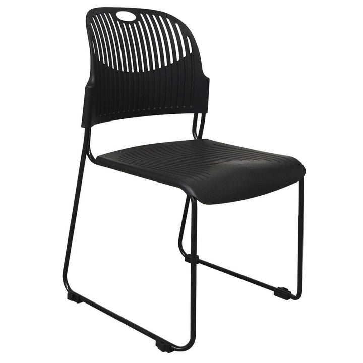 Fargo Stacking Chair Plastic Seat and Back / 6 Pack Private Spaces Chair Black
