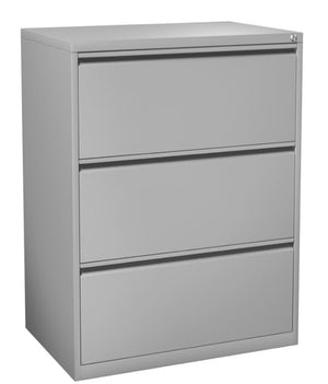 Fargo Three Drawer Lateral File with Lock Private Spaces Silver
