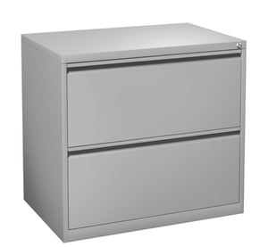 Fargo Two Drawer Lateral File with Lock Private Spaces Silver