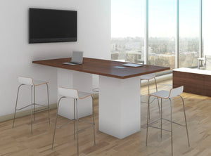 "Gathering Table 48' X 48' X 42"" high with Square Cylinder Base Private Spaces Modern Walnut White"