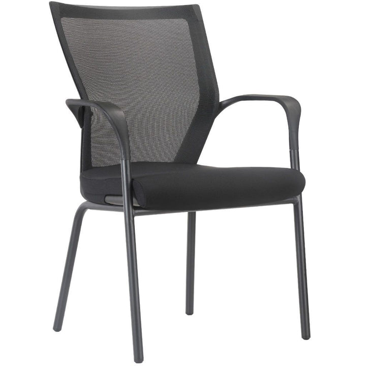 Geneva Four Leg Guest Chair with Mesh Back / 2 Pack Private Spaces Black