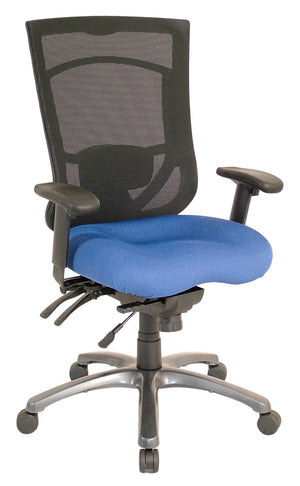 Milan High Back Multi-Function Task Chair with Titanium Base Private Spaces CornflowerBlue