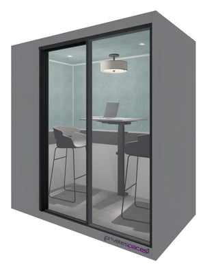 MotionPod 2 / 2 Person Privacy Room With Stools / Fog Gray Private Spaces