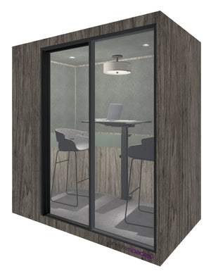 MotionPod 2 / 2 Person Privacy Room With Stools / Stargazer Woodgrain Private Spaces