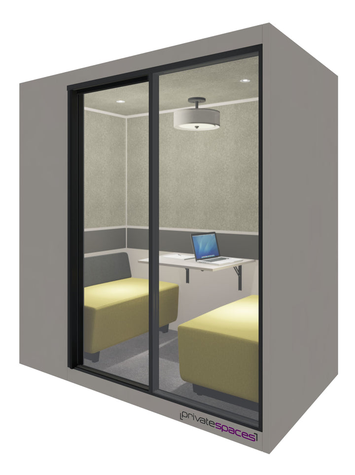 MotionPod 2 / 2 to 4 Person Privacy Booth / Sarum Taupe Private Spaces